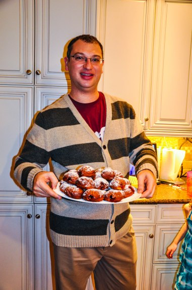 Dan with the sufganiot that he made.